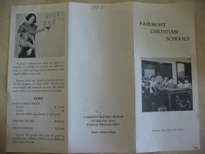 Christian school brochure (obverse)